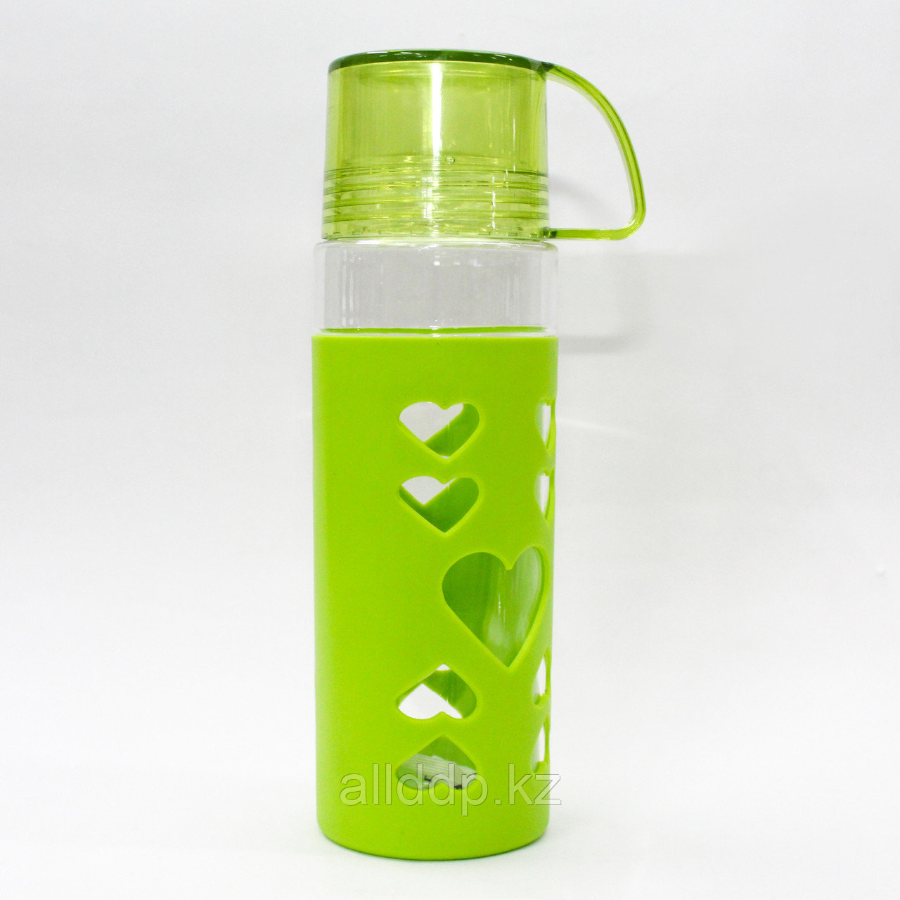 Эко бутылка для воды со стаканом, 0,5 л, зеленая