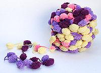 Пряжа с помпонами, желто-фиолетовая