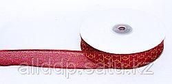 Декоративная лента из органзы полу-прозрачная с позолотой, красная, 3 см