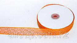 Декоративная лента из органзы полу-прозрачная с позолотой, оранжевая, 3 см