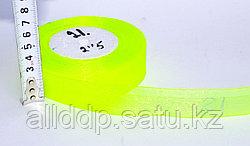 Декоративная лента из органзы полу-прозрачная, желтая, 3 см