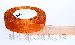 Декоративная лента из органзы полу-прозрачная, оранжевая, 3 см