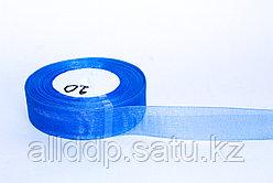 Декоративная лента из органзы полу-прозрачная, синяя, 3 см