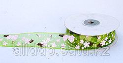 Декоративная лента из органзы полу-прозрачная, цветочки, зеленая, 3 см