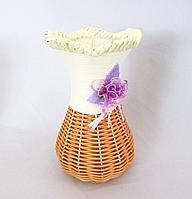 Ваза плетенная с цветком, h-15cм, лоза, металл