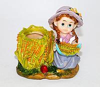 """Подставка для ручек """"Девочка/мальчик с кукурузой"""", h-10см, керамика"""