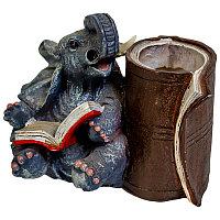 """Подставка для ручек """"Учёный слон"""", h-11смкерамика"""