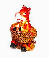 Лошадь в корзине, h-7см, керамика