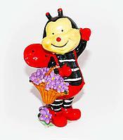 Пчёлка с букетом, h-15см, полиустоун