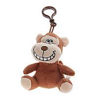"""Мягкая игрушка """"Улыбчивая обезьянка"""" на карабине, h-12см ,текстиль"""