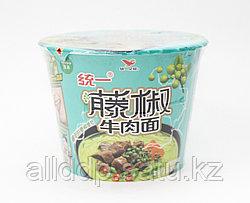 Лапша быстрого приготовления (острая), зеленая, бумажная чаша