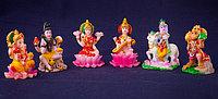 Индийское божество, набор 6шт, h-6см, керамика