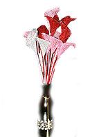 """Цветы искусственные """"Каллы"""", ветка в блестках, h-70см, пластик"""