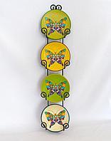 "Панно-тарелка ""Бабочка"", 4шт в наборе, d-12см, керамика"