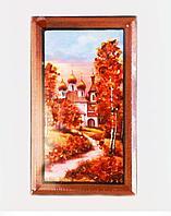 "Картина ""Храм"", 11*20 см, дерево/янтарная крошка"