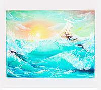 """Картина """"Шхуна в море"""", 45*50см, холст"""