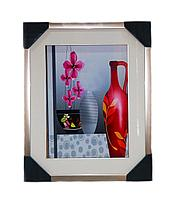 "Картина ""Цветы"", 3 в 1, 50*34см, картон/пластик/стекло"
