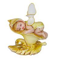 Ангелочек на цветке, h-9см, полиустоун