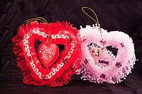 """Валентинка сердечко-подвеска """"I Lоve You"""", в подарочной упаковке, пенопласт/текстиль/стразы"""