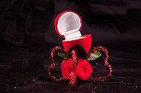 Валентинка-шкатулка для кольца, в подарочной упаковке, пластик/текстиль