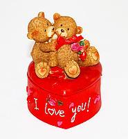 """Шкатулка-валентинка """"I love you"""", h-9см, полиустоун"""