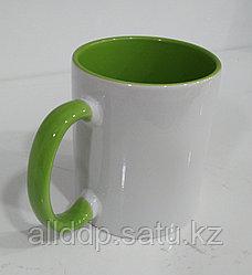 Кружка под сублимацию, бело-зеленый