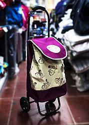Универсальная сумка-тележка на двух колесах, 26х31х88см (сиреневая)