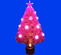 Ель 1,2 м искусственная в горшке,светящаяся,шары ,цвет розовый, T713/4 (пластик)