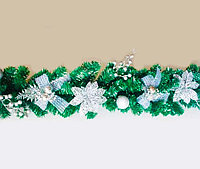 Гирлянда хвойная, с бантами, ягодами и шарами, h-1,8м, пластик