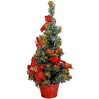 Ель в горшке, с цветами и шарами, цвет красный, h-50см, пластик