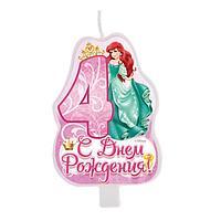 """Свеча в торт """"С днем рождения"""", цифра 4, Принцессы"""