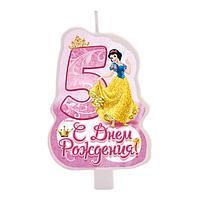 """Свеча в торт """"С днем рождения"""", цифра 5, Принцессы"""