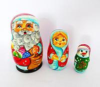 """Матрешка """"Дед Мороз со снегуркой"""", 3 шт, h-15см, дерево"""