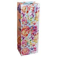 """Пакет для вина """"Цветы и бабочки"""", 13*36см, ламинат, картон"""