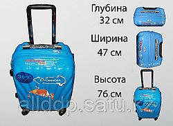 Пластиковый чемодан на 4 колесах, L, голубой