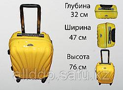 Пластиковый чемодан на 4 колесах, L, желтый
