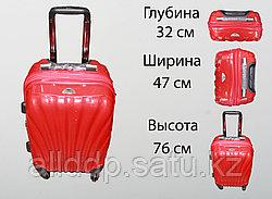Пластиковый чемодан на 4 колесах, L, красный