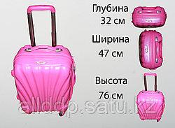 Пластиковый чемодан на 4 колесах, L, розовый