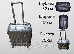 Пластиковый чемодан на 4 колесах, L, серебро