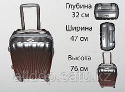 Пластиковый чемодан на 4 колесах, L, серый
