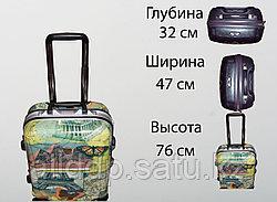 Пластиковый чемодан на 4 колесах, L, столицы мира