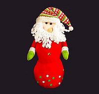 Снеговик/Санта - шапка с ромбиками, пуговички, текстиль