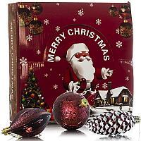"""Украшения елочные""""Merry Kristmas"""" в подарочной упаковке, 24 шт, d-6см, пластик"""