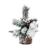 """Новогодняя композиция """"Снеговик с елкой"""", 26*29см, дерево/пластик"""