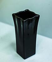 Декоративная настольная ваза (керамика, черная), 16,5см