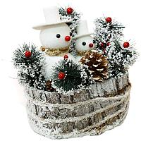 "Новогодняя композиция ""2 снеговика"", 23*24см, дерево/пластик"