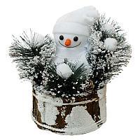 """Новогодняя композиция """"Снеговик в корзинке"""", 25*23см, дерево/пластик"""