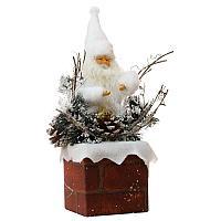 """Новогодняя композиция """"Санта на печной трубе"""", 20*30см, дерево/пластик"""