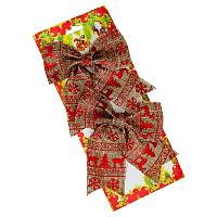 """Бант новогодний """"Олени """" ,стиль кантри, L-16см, 2шт текстиль"""