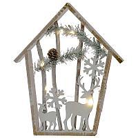 """Рождественское светящееся панно """"Домик с оленем"""", 34*28см, дерево"""